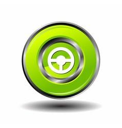 Car steering wheel button green glossy vector