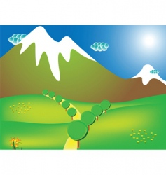 Road to the mountains vector