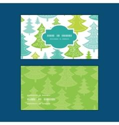 Holiday christmas trees horizontal frame vector