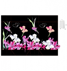 Decorative bag with iris flowers vector