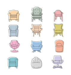 Colorfull armchairs isolated icons set vector
