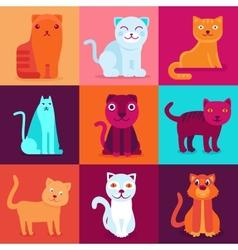 Set of 9 flat cat vector