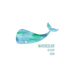 Watercolor image of a big whale vector