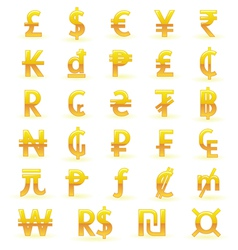 Golden currency symbols vector