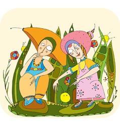 Children play grass vector