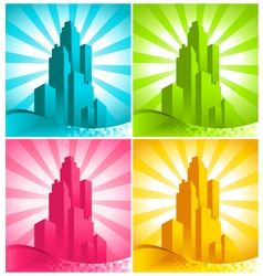 Colorful skyscrapers vector