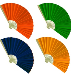 Set traditional folding fans vector