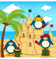 Penguin built sand castle vector