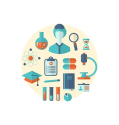 Flat icon of objects chemical and medical research vector