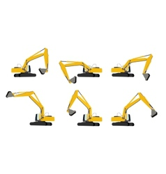 Excavator work set vector