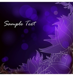 Deep blue background with purple stylized flowers vector