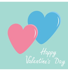 Pink and blue hearts happy valentines day vector