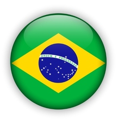 Brazil flag glossy button world football vector