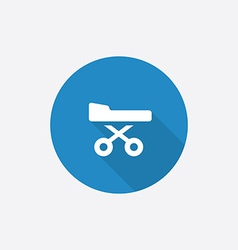 Hospital bed flat blue simple icon with long vector