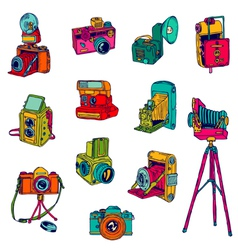 Set of photo cameras - hand-drawn doodles vector
