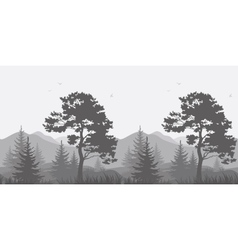 Mountain landscape with trees and birds vector