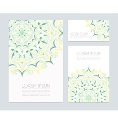 Business cards with hand drawn floral ornaments vector