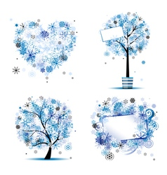 Winter tree frames vector