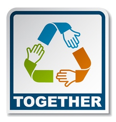 Together circular hands sticker vector
