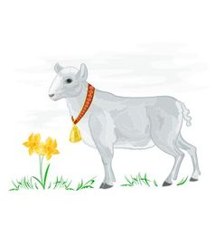Easter lamb with daffodils vector