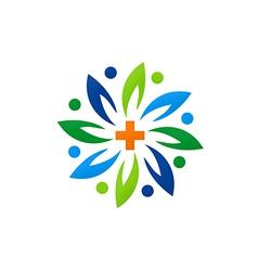 Medical green abstract flower logo vector