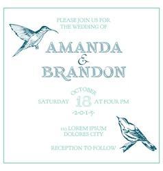 Wedding vintage invitation card - bird theme vector