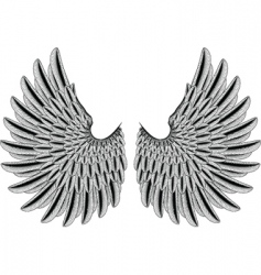 Woodcut wings vector