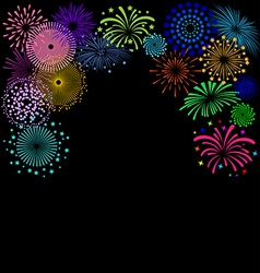 Colorful fireworks frame on black background vector