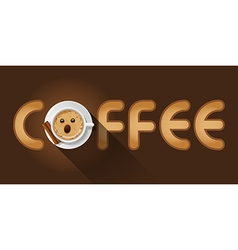 Coffee word with cup of cappuccino vector