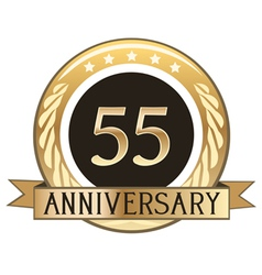 Fifty five year anniversary badge vector