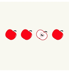 Red apple set in a row whole and half heart seed vector