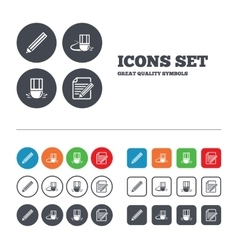 Pencil icon edit document file eraser sign vector