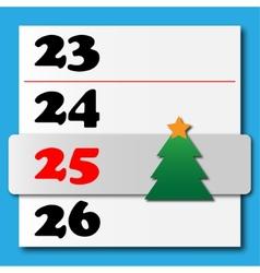 Christmas calendar with a sliding tree vector