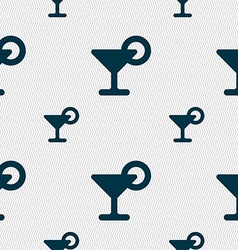 Drink cocktail with a lemon icon sign seamless vector
