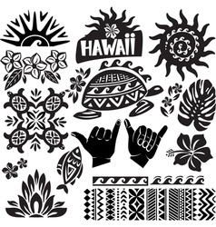 Hawaii set in black and white vector
