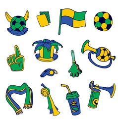 Fan elements soccer footall brazil - hand drawn vector