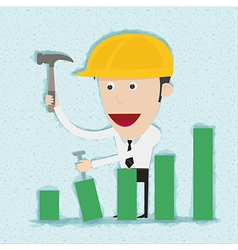 Business man and engineer build graph vector