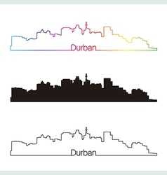 Durban skyline linear style with rainbow vector