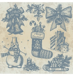 Christmas retro drawings by hand vector