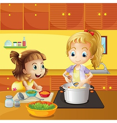 Mother and daughter cooking together vector