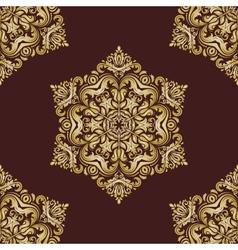 Damask seamless pattern orient golden vector