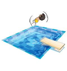 A boy and swimming pool vector