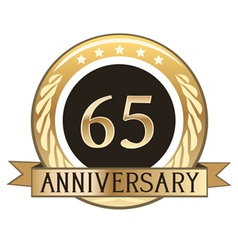 Sixty five year anniversary badge vector