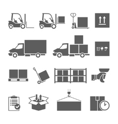 Warehouse transportation and delivery icons set vector