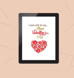 Happy valentine with greeting card in tablet vector