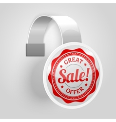 White plastic wobbler with red sale label vector