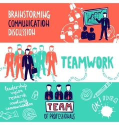 Teamwork banners sketch vector