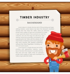 Timber industry background with lumberjack vector