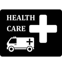 Black icon with ambulance car vector