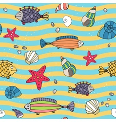 Seamless pattern of sea life on the seashore vector